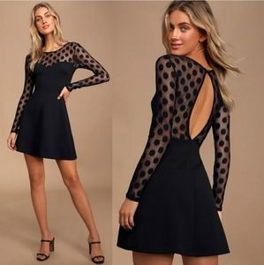 LULUS | In Hot Dot-er Long Sleeve Black Dress NWT